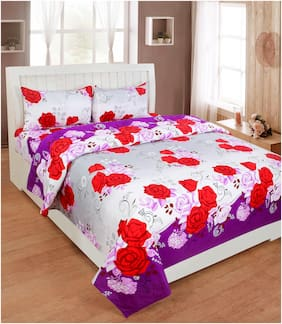 White Red Floral Double Bedsheet with Pillow Cover