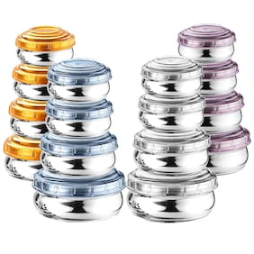 WIBSIL 200 ml Multi Stainless steel Container Set - Set of 16