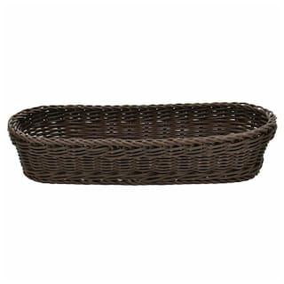 Wicker Bread Basket Dark Brown Oval - 15 1/4 L x 7 5/8 W x 3 3/4 H