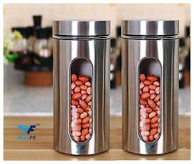 Willfe 1250 ML Glass Kitchen Canister;Tea Coffee & Sugar;spices;grains;Jam;Pasta;Spaghetti;Beans;Cookie;Dry-fruits;Container with Lid;Visible Window Container;(1250 ml) pack of 2