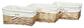 "Willow Shelf Basket Lined w/ White Lining Set 3 Small Baskets,9.8"" x 5.8"" x 4.5"""