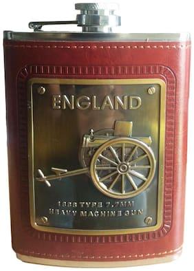 Wine Holder / Whiskey Holder / Liquor Holder Stainless Steel Hip Flask (Brown Leatherite)