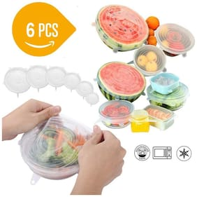 Winner Set of 6 pcs Silicone Stretch Lids- Silicon Lids and Covers - Food Fresh Saver Cover, Freezable, Microwavable Cover Stretchable Covers for Bowls, Cups, Pots, 6-Pack of Various Sizes (White )