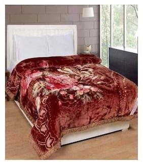Winter Soft Single Bed Mink Floral Blanket Reveresible Blanket