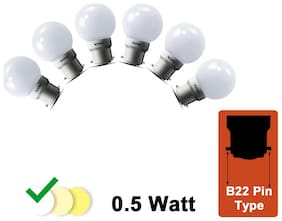 Wipro 0.5 W White LED Deco Bulb (Pack Of 6)