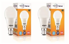 Wipro Garnet 10-Watt B22 LED Bulb, Cool Daylight (Pack of 2)