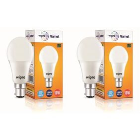 Wipro Garnet 10 Watt B22 LED Bulb, Cool Daylight (Pack of 2)