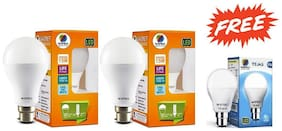 Wipro 15W LED Bulb Pack of 2 Cool Day Light (6500K) with Free Wipro 9W LED Bulb (6500K)