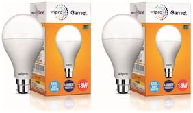 Wipro Garnet 18 Watt B22 LED Bulb, Cool Daylight (Pack Of 2)