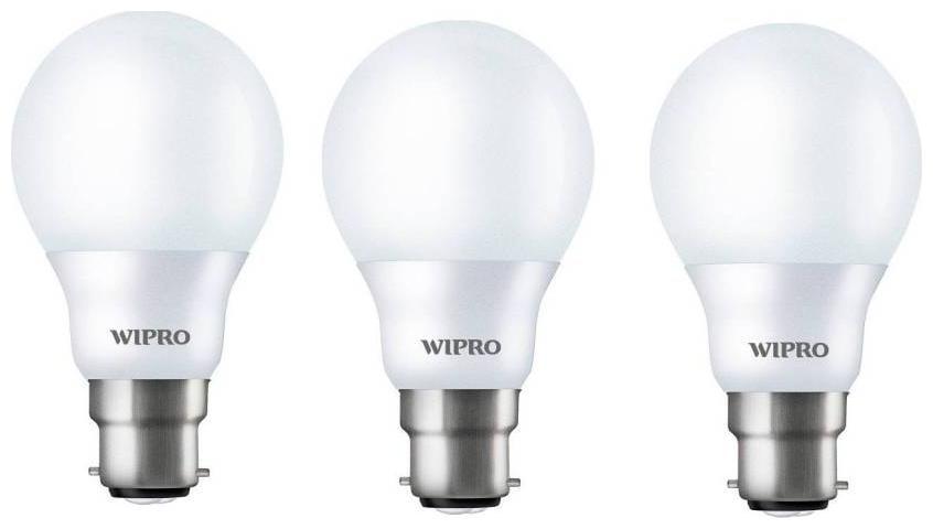 Wipro 3 W Standard B22 LED Bulb   White, Pack of 3