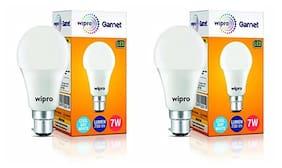 Wipro 7 W Standard B22 Led Bulb (White;Pack Of 2)