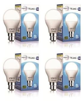 Wipro 9 W Round B22 LED Bulb (Cool Day Light;Pack of 4)