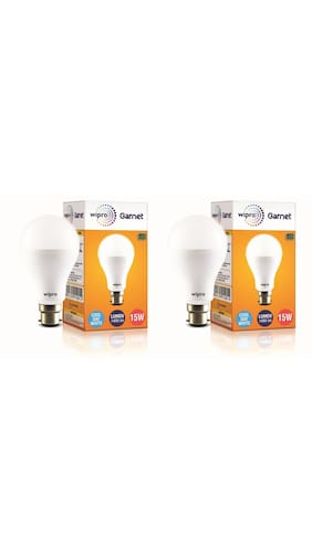 Wipro Garnet 15 Watt B22 LED Bulb,Cool Day Light (Pack of 2)