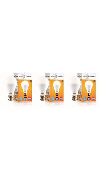 Wipro Garnet 15W LED Bulb 6500K (Cool Day Light) - Pack of 3