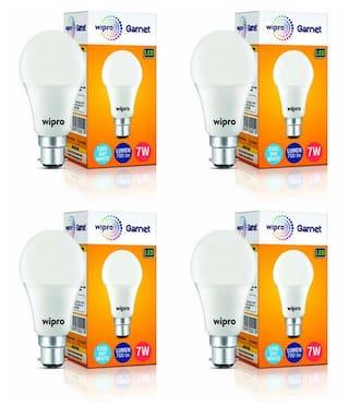 Wipro Garnet Base B22 7-Watt LED Bulb (Pack of 4;Cool Day Light)