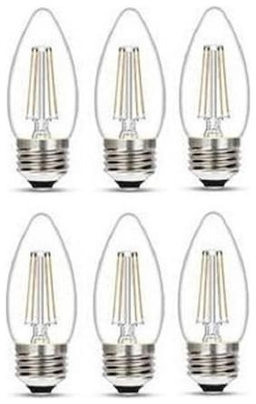 Wipro Garnet 4W Filament Candle Bulb E27 Pin 2700K (Warm White) - Pack of 6