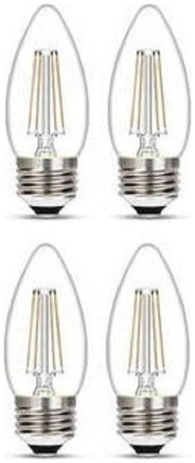 Wipro Garnet 4W Filament Candle Bulb E27 Pin 2700K (Warm White) - Pack of 4