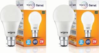 Wipro Garnet 3 Watt B22 LED Bulb (Pack Of 2)