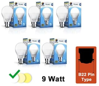 Wipro Tejas 9W LED Bulb Cool Day Light 6500K - Pack of 5