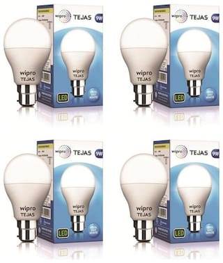 Wipro Tejas 9W LED Bulb 6500K (Cool Day Light) - Pack of 4
