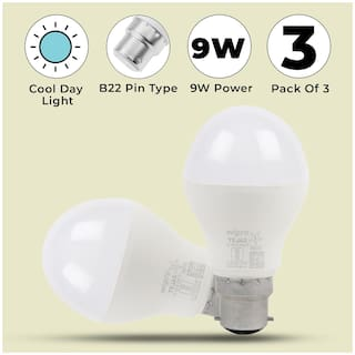 Wipro Tejas 9W LED Bulb Cool Day Light 6500K - Pack of 3