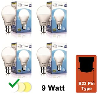 Wipro Tejas 9 Watt B22 LED Bulb (Pack of 4)