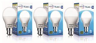 Wipro Tejas 9 Watt B22 LED Bulb, Cool Daylight (Pack of 3)