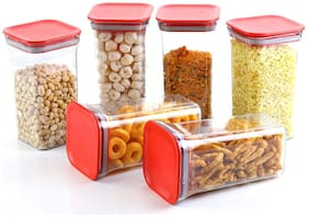 Zaro International 1200 ml Red & Transparent Plastic Container Set - Set of 6