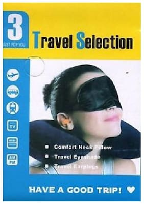 WOMS 3-in-1 Travel Selection (Comfort Neck Pillow, Travel Eyeshade & Travel Earplugs)