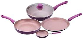 Wonderchef Royal Velvet Induction Base Aluminium Cookware Set With Free Mini Frying Pan 5-pcs Purple