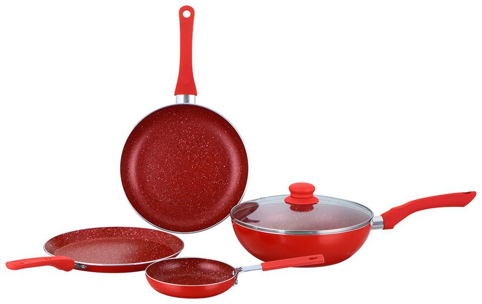 Wonderchef Royal Velvet Red Set of 4Pcs   Induction Base Cookware Set by Treasure Retail
