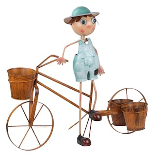 Wonderland BOY ON Bike with Three POTS Metal Planter;planters for Home Decor & Garden Decoration Items;Garden pots and planters