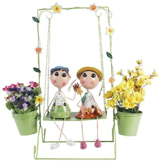 Wonderland Boy & Girl On Swing Doll With Two Pots Planters Metal Planter 30 inch Tall For Garden;Home;Balcony