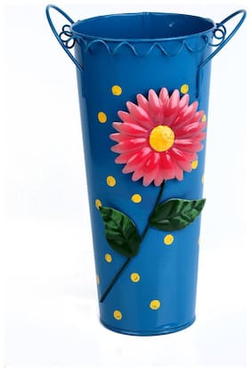 Wonderland Metal hand painted Flower vase buckets / vase Blue (Pots and Planters;Home Decor;garden decor;gift item)