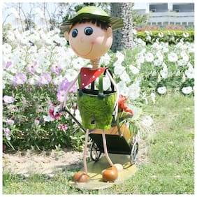 Wonderland Metal / Iron Boy Push Cart pot / planter for home;garden decor;balcony or kid's room