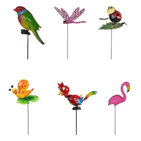 Wonderland ( Set of 6) Garden Sticks bird;butterfly;fat bird;ladybug;rooster & gasshopper