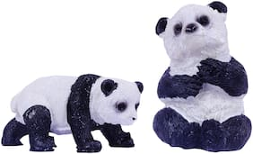 Wonderland set of 2 panda for bonsai decoration, planter d cor, terrariums, doll house, made of polyresin, washable for home