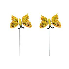 Wonderland (SET of 2)Butterfly Garden Stake in yellow