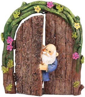 Wonderlnad Miniature fairy garden Gnome in the Door