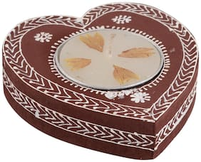 Wood Heart Hand Painted Pack of 1 Wooden Handicraft Coffee Candle Holder by Rajrang
