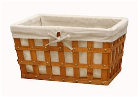 Wood Slats Basket with White Liner