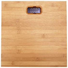 Wooden/Bamboo Body Personal Weighing Scale 125kg wooden_125kg Golden Yellow