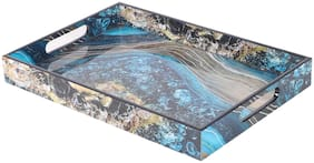 Rishan Lifestyle Wooden Blue Stone Serving Tray