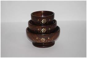 Wooden Bowl Set & Free 3 Tea Spoons