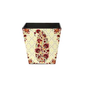 Wooden dustbin with Paisley Design
