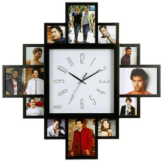 Wooden Family photo collage Clock with big clock