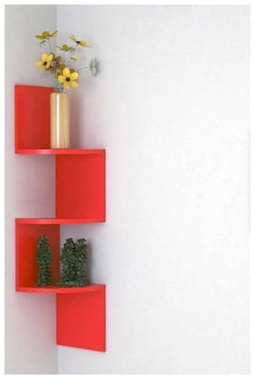 Wooden Fancy Zigzag Wall Mount Floating Corner Wall Shelf-( Red )