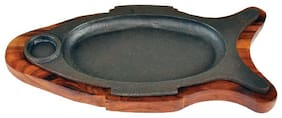 "Wooden Fish Shape Sizzler With Cast Iron Plate ( 15"" x 9"" x 2"")"