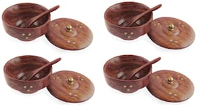 Wooden Handcrafted Bowls with Covering Plates and Spoons (4 x 4 x 2.5 inches Each)