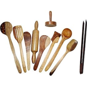 Wooden Spoon Set of 10 pcs/ Wooden Spatula, Ladle & Kitchen Tools Set